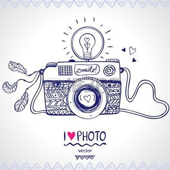 Camera Outline Illustration Sketch Vintage Retro Photo Camera