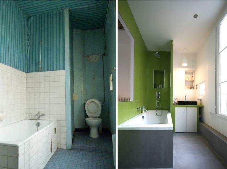 Salle de bain Vert, gris béton et blanc | Salle de bain ...