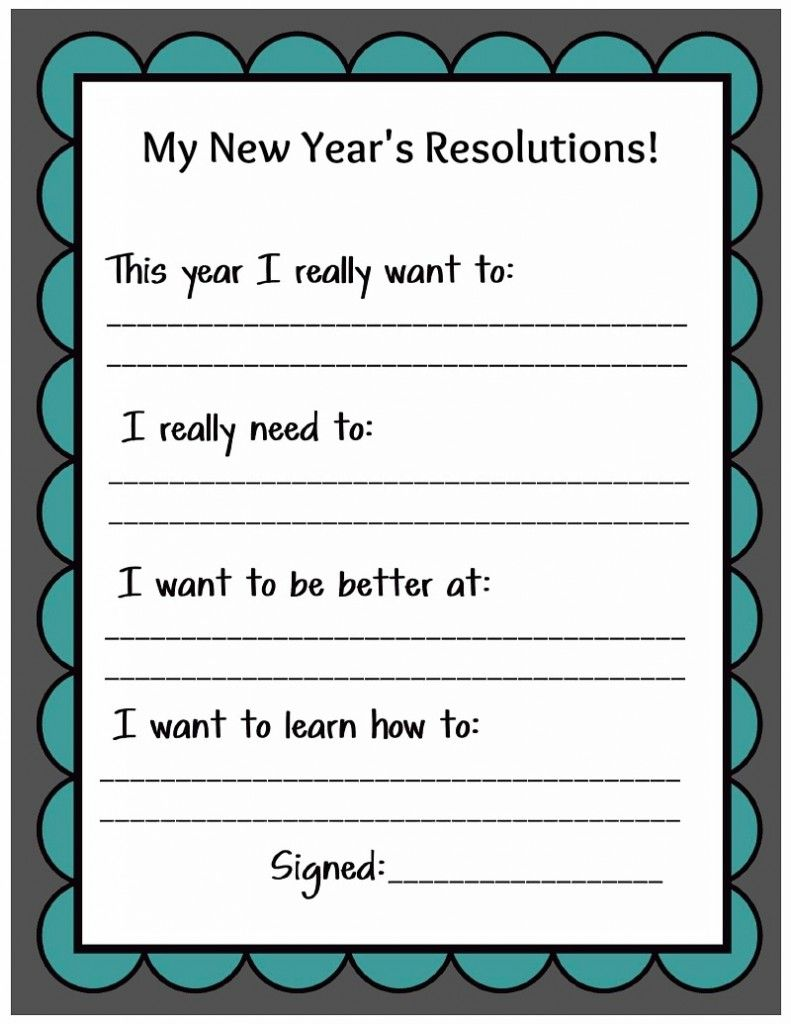 Kid Friendly New Year's Resolution Printable Family new