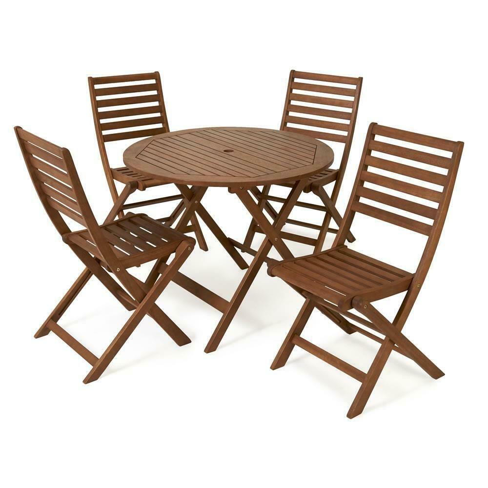 Wilko Wooden Patio Set 4 Seater Garden Furniture Outdoor Table