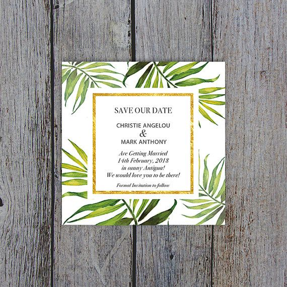 Coco Palm Save The Date Card Magnet Print Your Own By