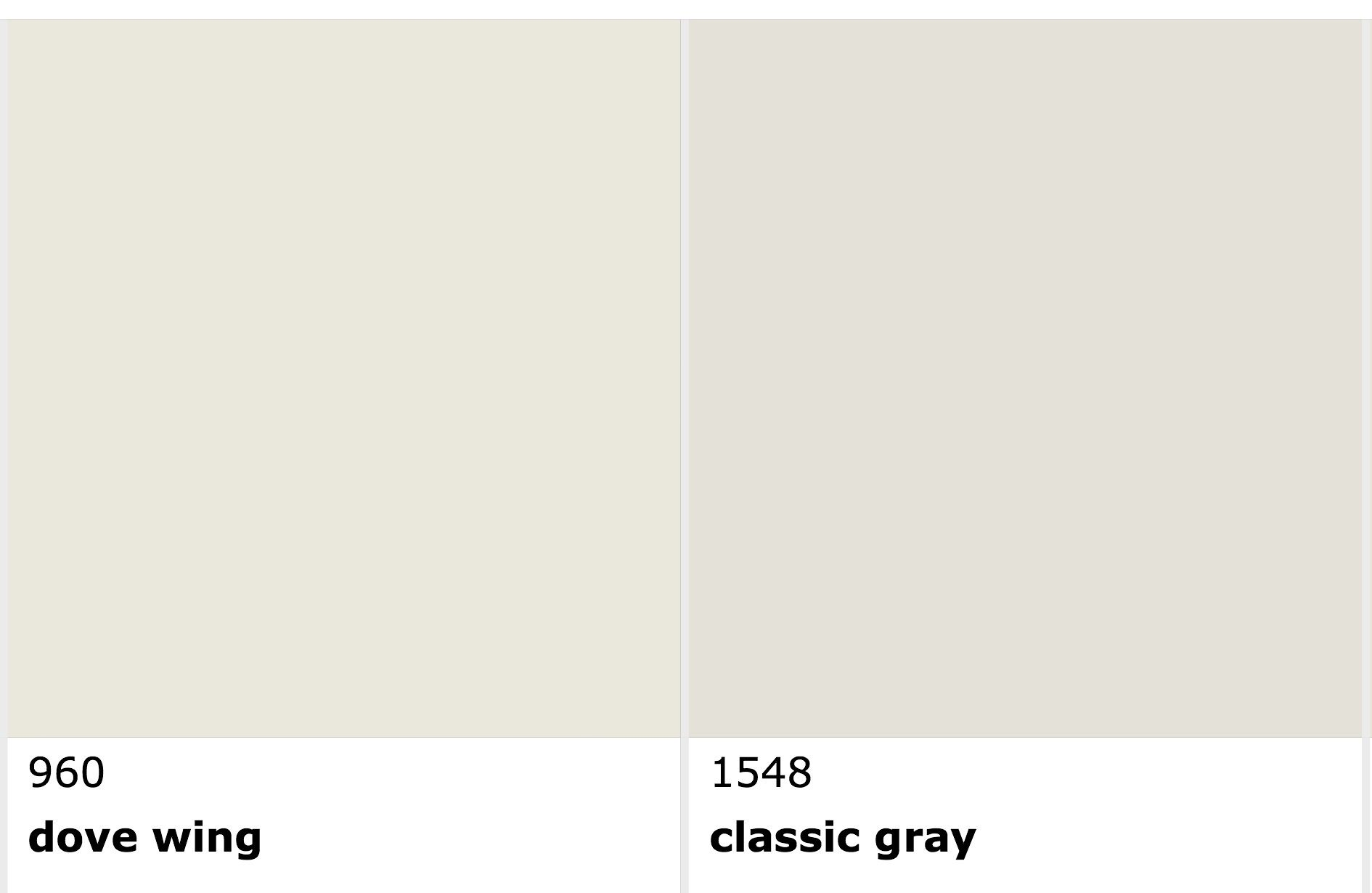 Benjamin Moore Dove Wing vs Classic Gray