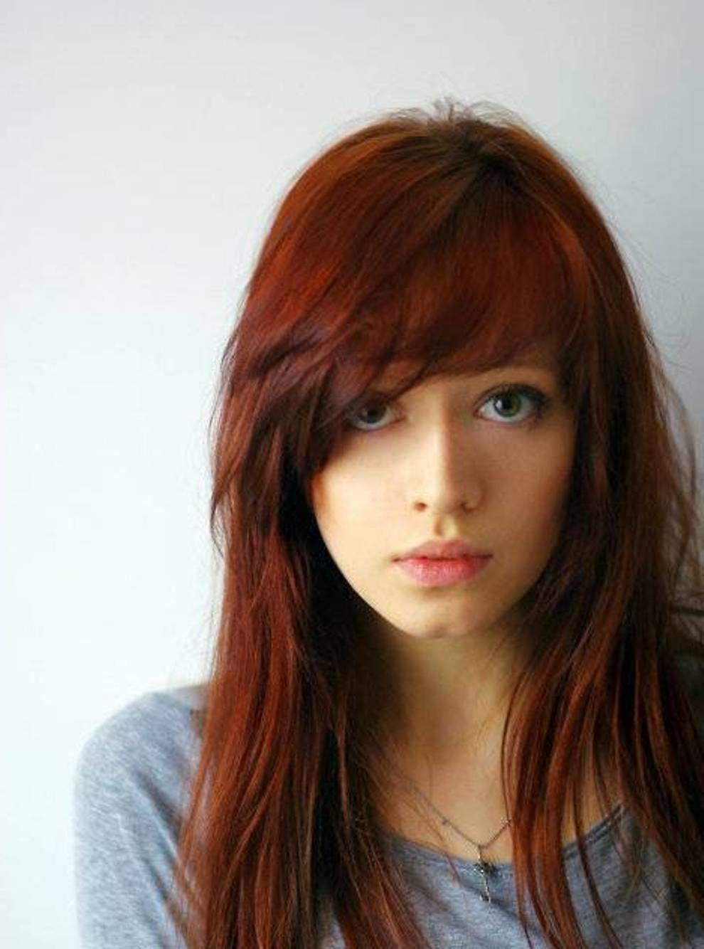 Straight Dark Auburn Hair Style
