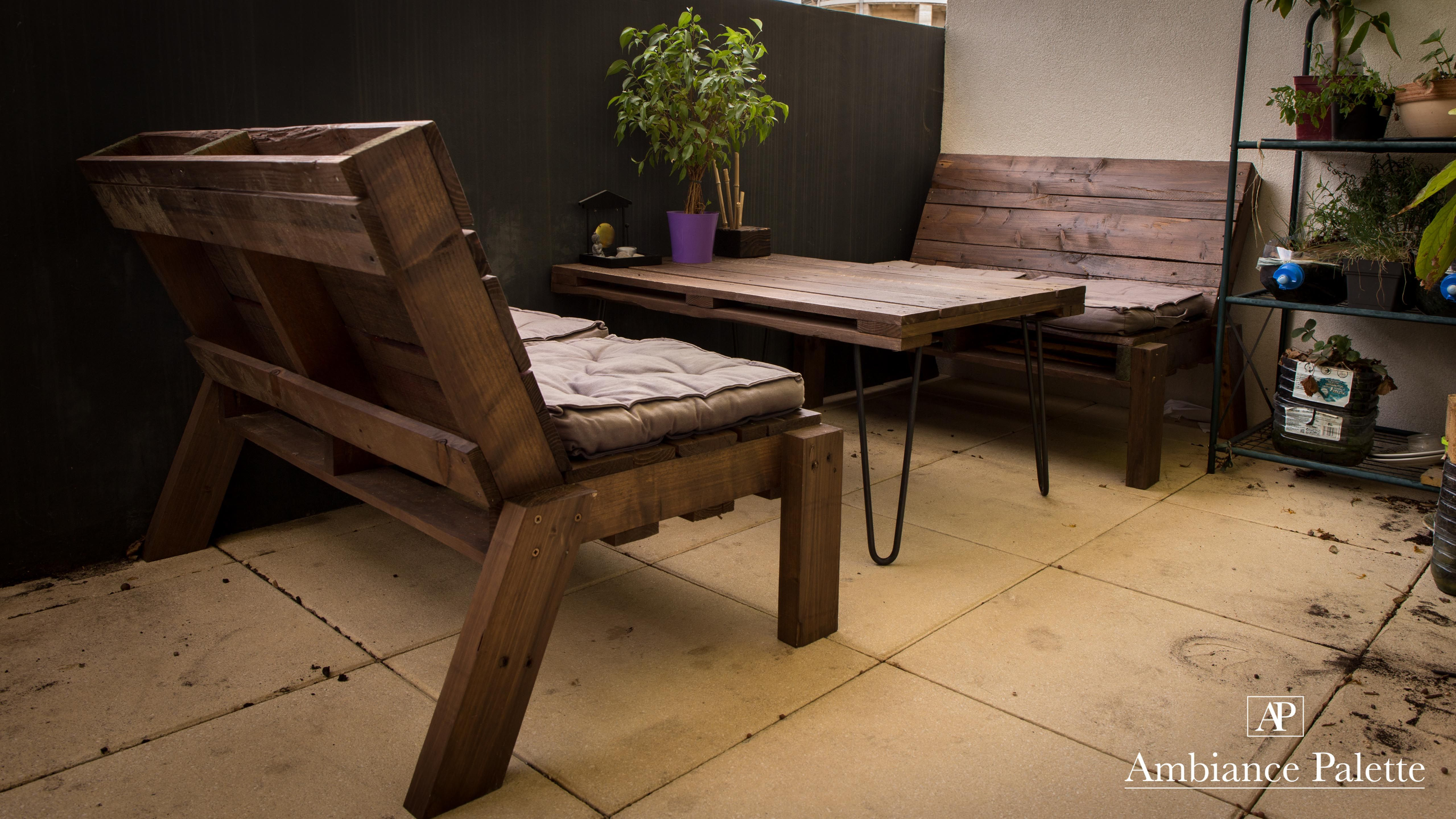 salon de jardin / balcon en bois de palette | Créations ...