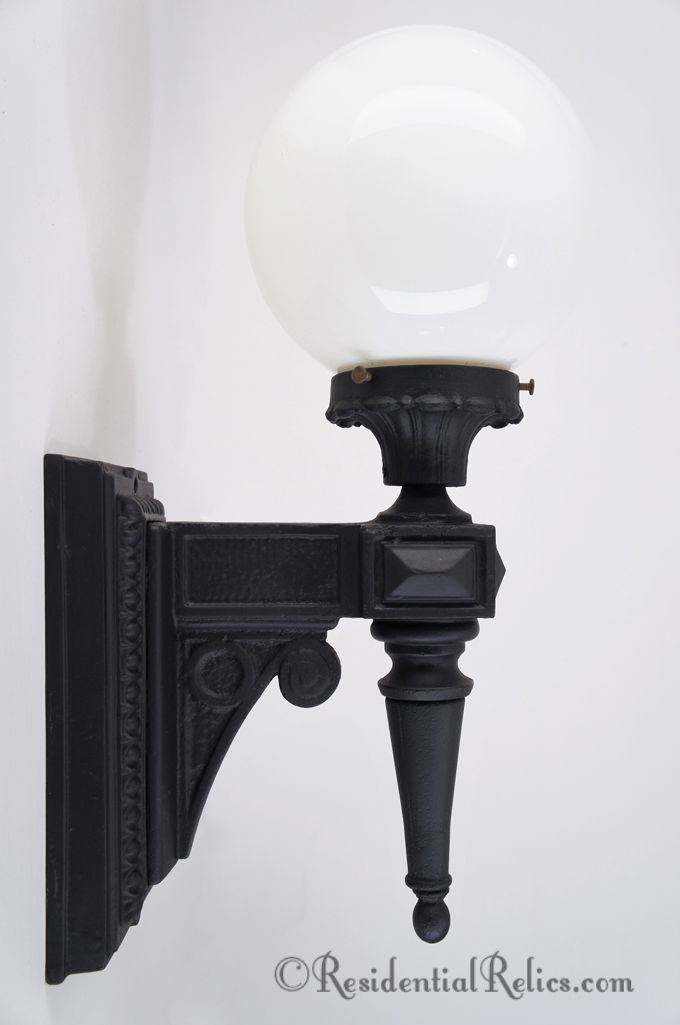 Large Antique Cast Iron Exterior Wall Sconce With Vintage Milk Glass Globe Circa Residential Relics Authentic Lighting Minneapolis Minnesota