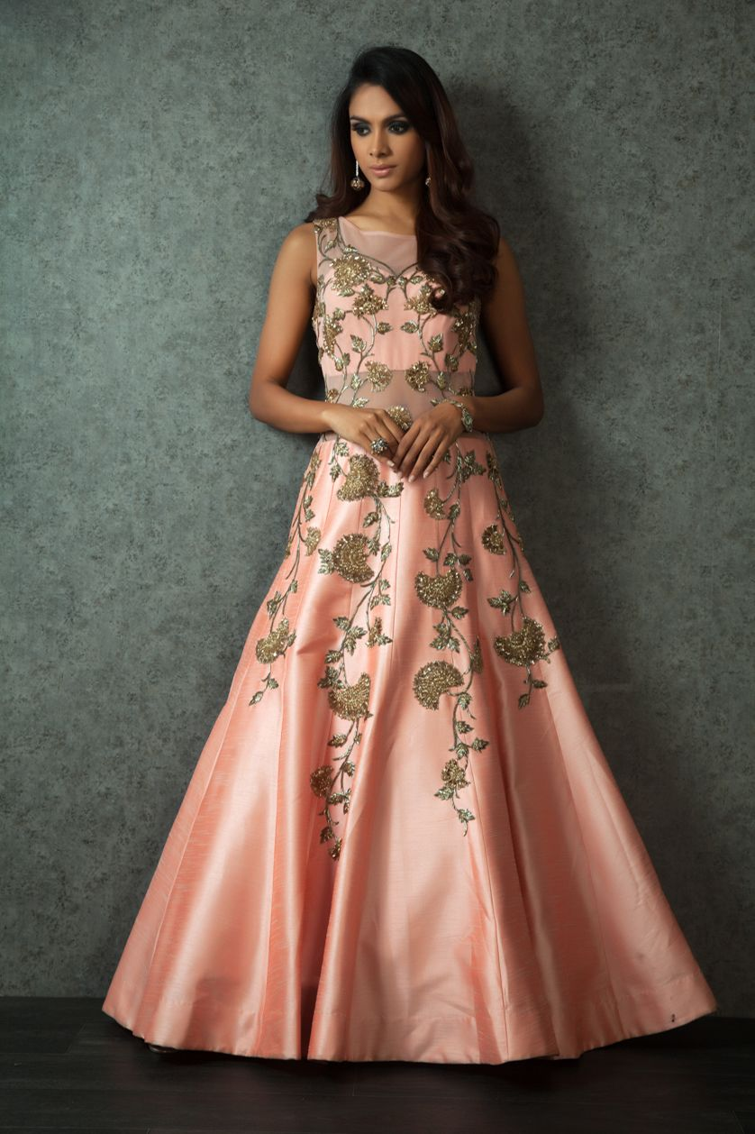 Looking For Peach Floor Length Gown With Gold Floral Embroidery Browse Of Latest Bridal Photos Lehenga Jewelry Designs Decor Ideas Etc