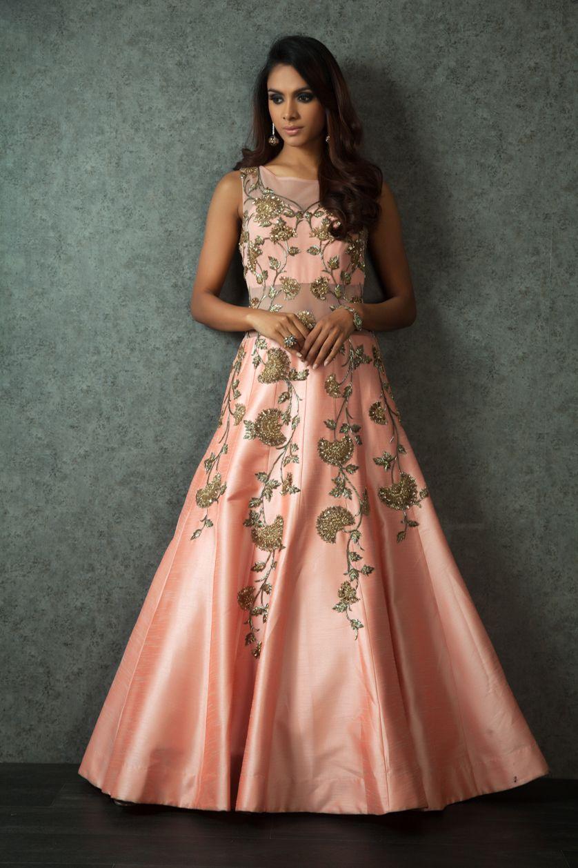 Beautiful Raw Silk Gown With Zari Embroidery Peach