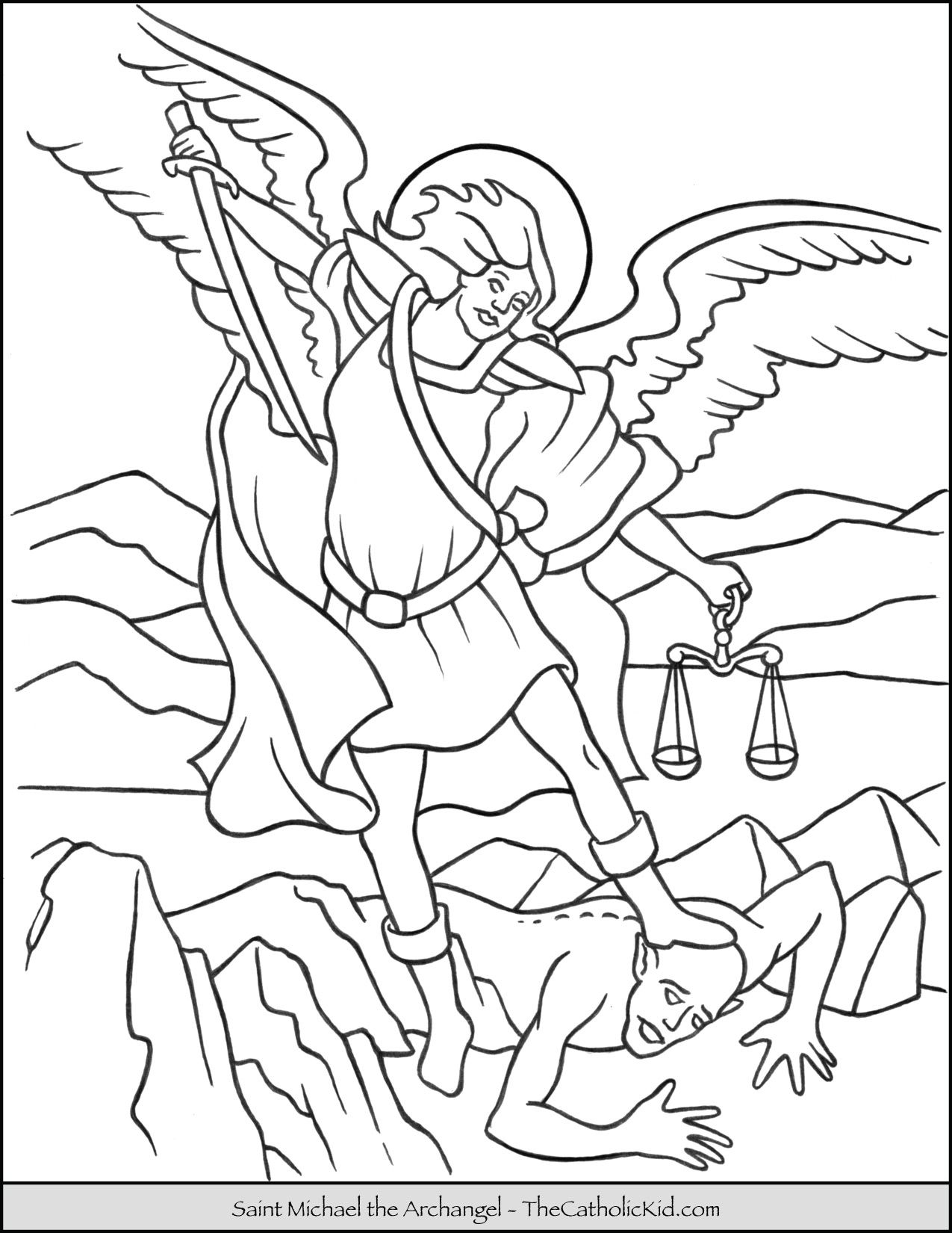 Saint Michael Archangel Coloring Page Thecatholickid Com Angel