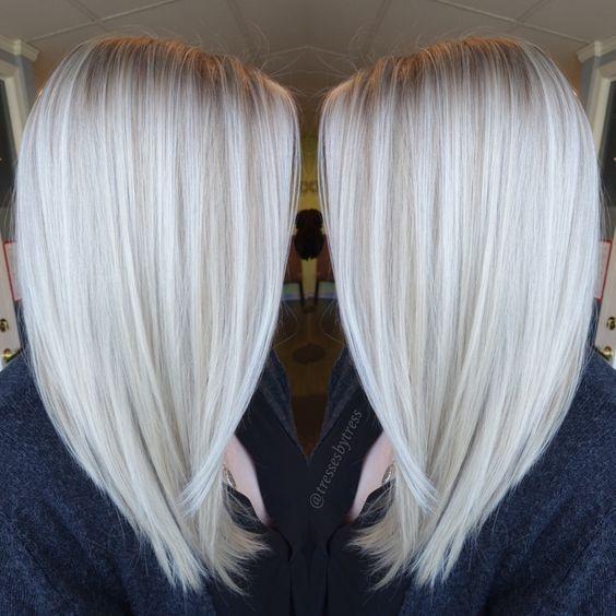 Platinum Weiß Blonde Balayage - Gerade Schulter Länge Haircut 2017 #shadesofwhite