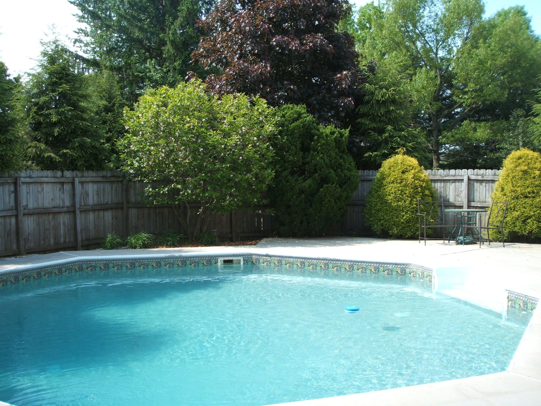 French doors in LR open to this sparkling inground pool. This home is located in Lebanon PA and is available for purchase.