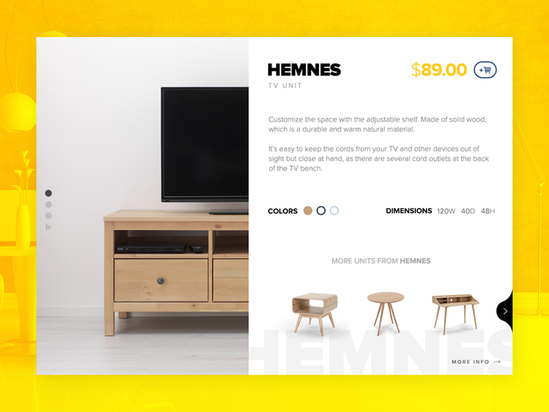 Product detail page for ikea design webgraphic