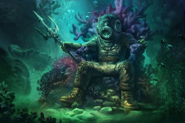 Pin By Mickey On Commercial Divinq Diver Art Deep Sea Diver Art Fantasy Creatures Art