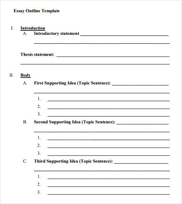 Outline Template For Essay Essay Outline Templates   Word Excel PDF Formats