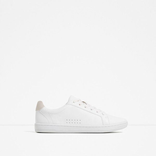 Zara Plimsolls With Laces ( 40) ❤ liked on Polyvore featuring shoes,  sneakers, white, zara shoes, zara sneakers, zara footwear, canvas sneakers  and ... e92123b3e6f