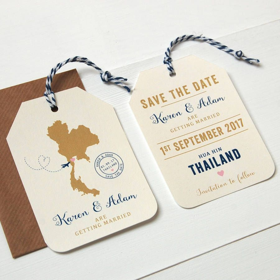 Wedding Abroad Invitation Wording Ideas: Location Wedding Abroad Save The Date Luggage Tag