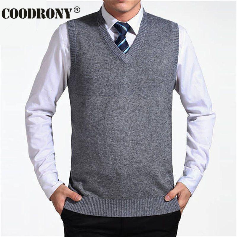 COODRONY 2017 New Arrival Solid Color Sweater Vest Men Cashmere ...