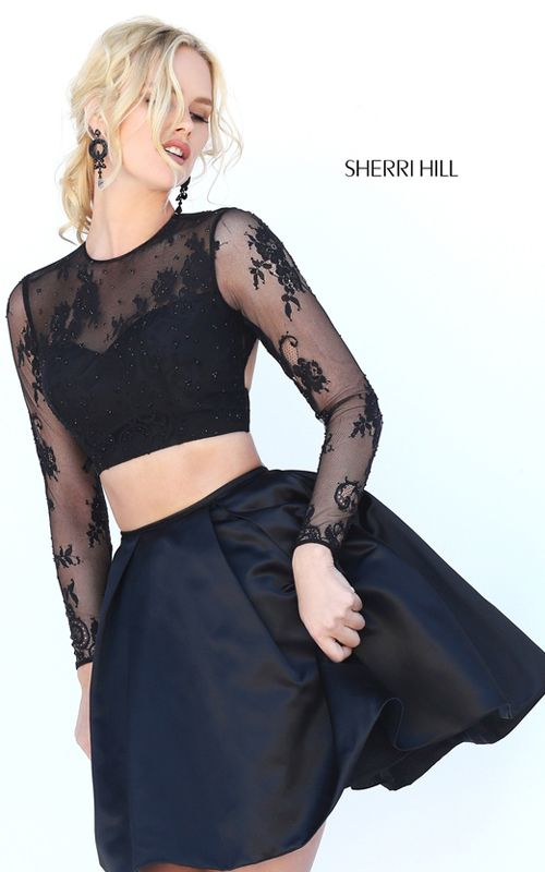 2016 Long Sleeved Sherri Hill 50533 Open Back Black Lace Two Piece Party  Dress