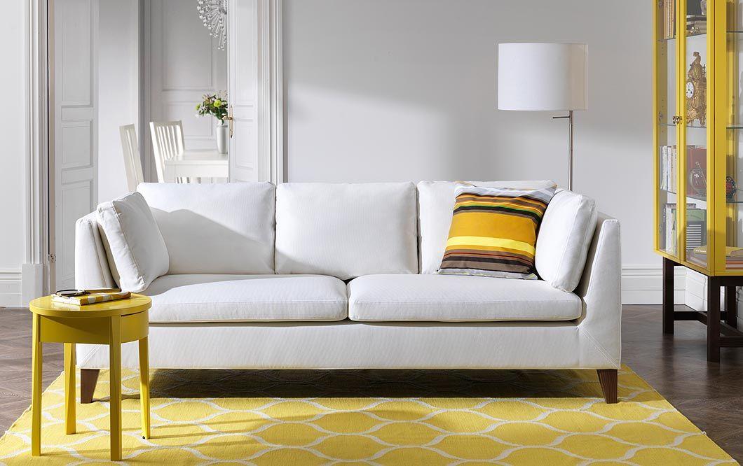 Wohnzimmer Mit Stockholm 3er-sofa Mit Bezug ?röstånga? In Weiß ... Wohnzimmer Gelb Weis