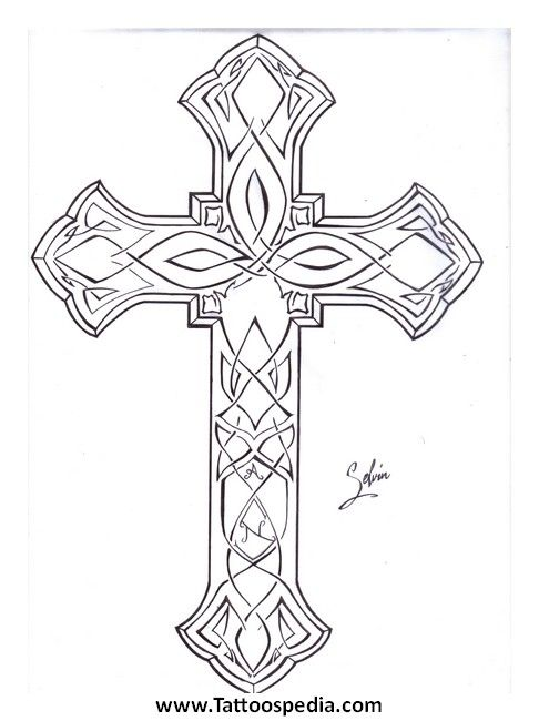Cross Tattoo Line Drawing : Cross outline tattoos pinterest