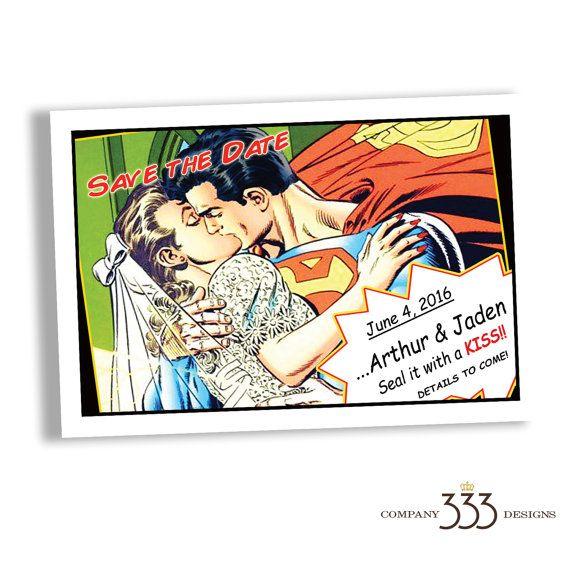 superhero wedding invitation superhero save the date custom wedding invitations - Superhero Wedding Invitations