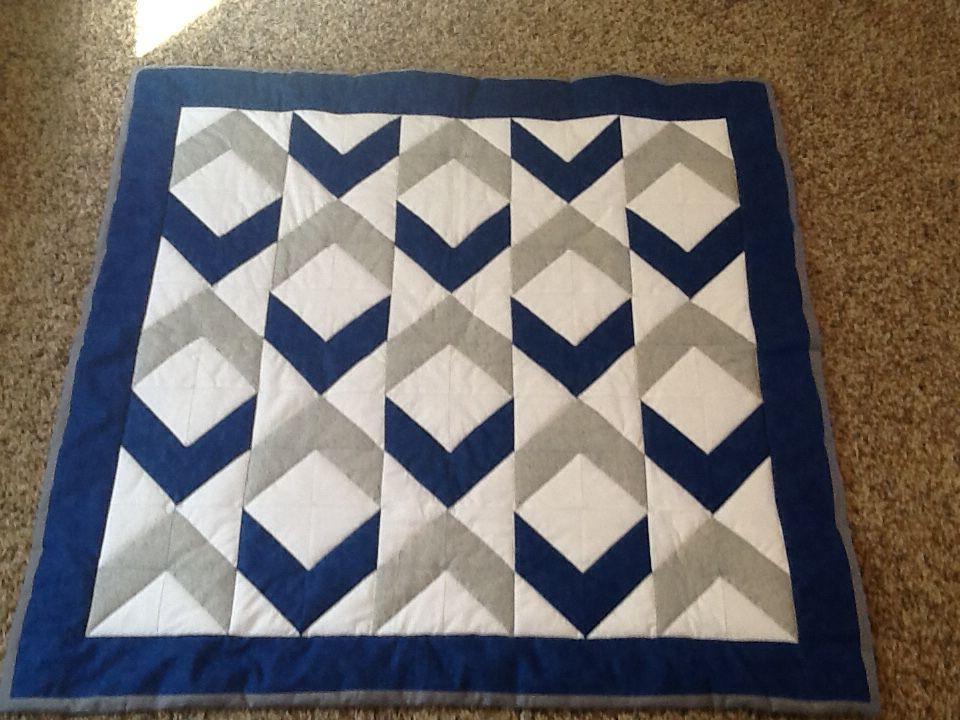 Baby boy quilt royal blue grey and white diamond pattern HST ... : pinterest baby boy quilts - Adamdwight.com
