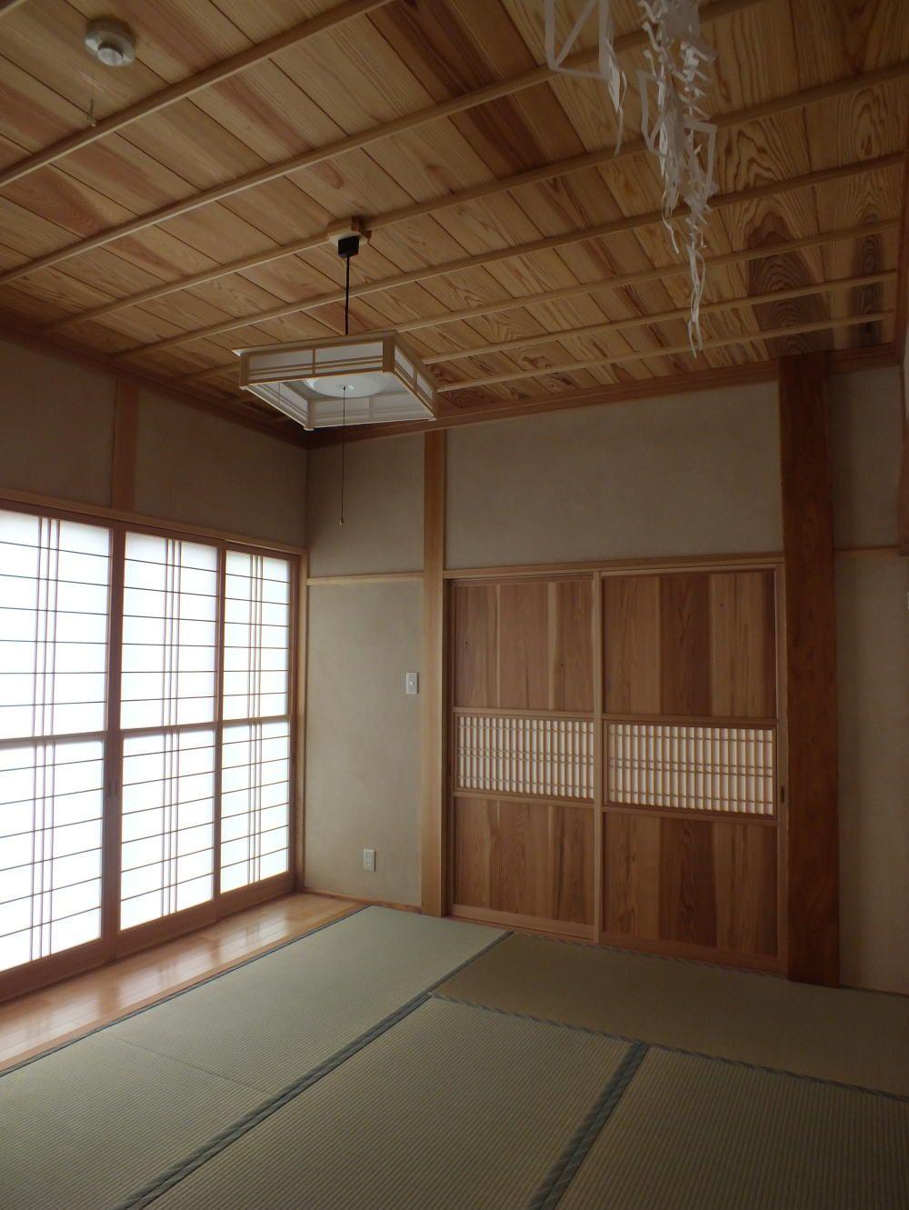 施工例 杉無垢天井 貼天井 杉杢貼天井 木の店さんもく 岩手の銘木屋