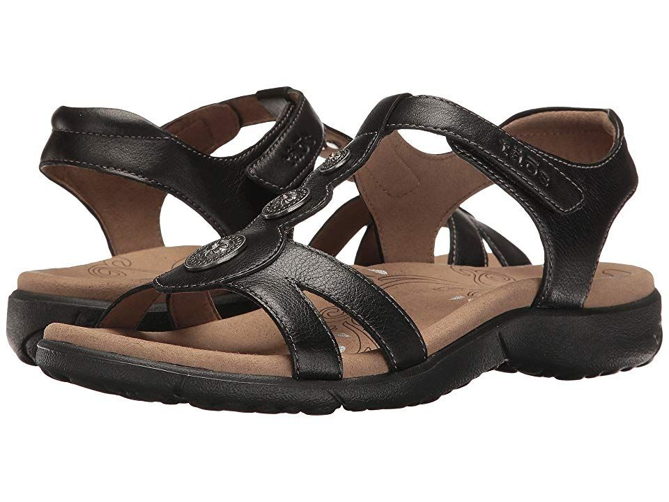 Taos Footwear Treasure 2 (Black) Women's  Shoes. Treasure your comfort footwear in this fun decorative sandal by täos. Leather upper with crafted medallions for added appeal. Adjustable hook-and-loop closure. Premium microfiber lining. Taos Soft Support premium footbed with Cool Recovery Foam. SILVADUR Antimicrobial Shield on the footbed. Injection molded EVA outsole. Imported. Measurements: Weight: 7 oz Product measurements w