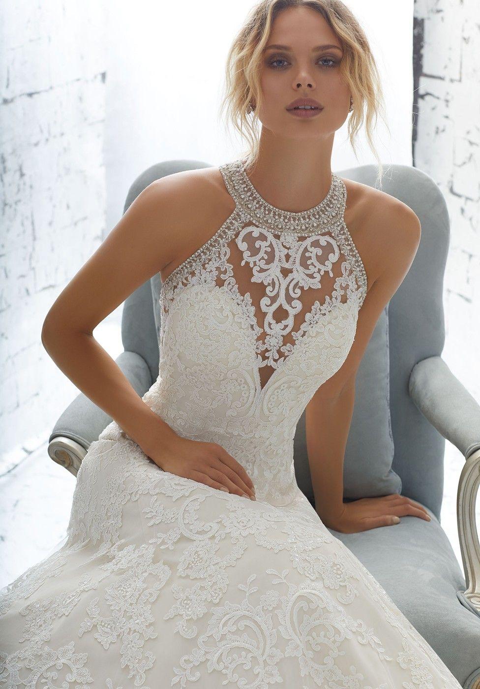 Best wedding dresses for 50 year olds  Mori Lee Angelina Faccenda  Kailani High Neck Bridal Dress