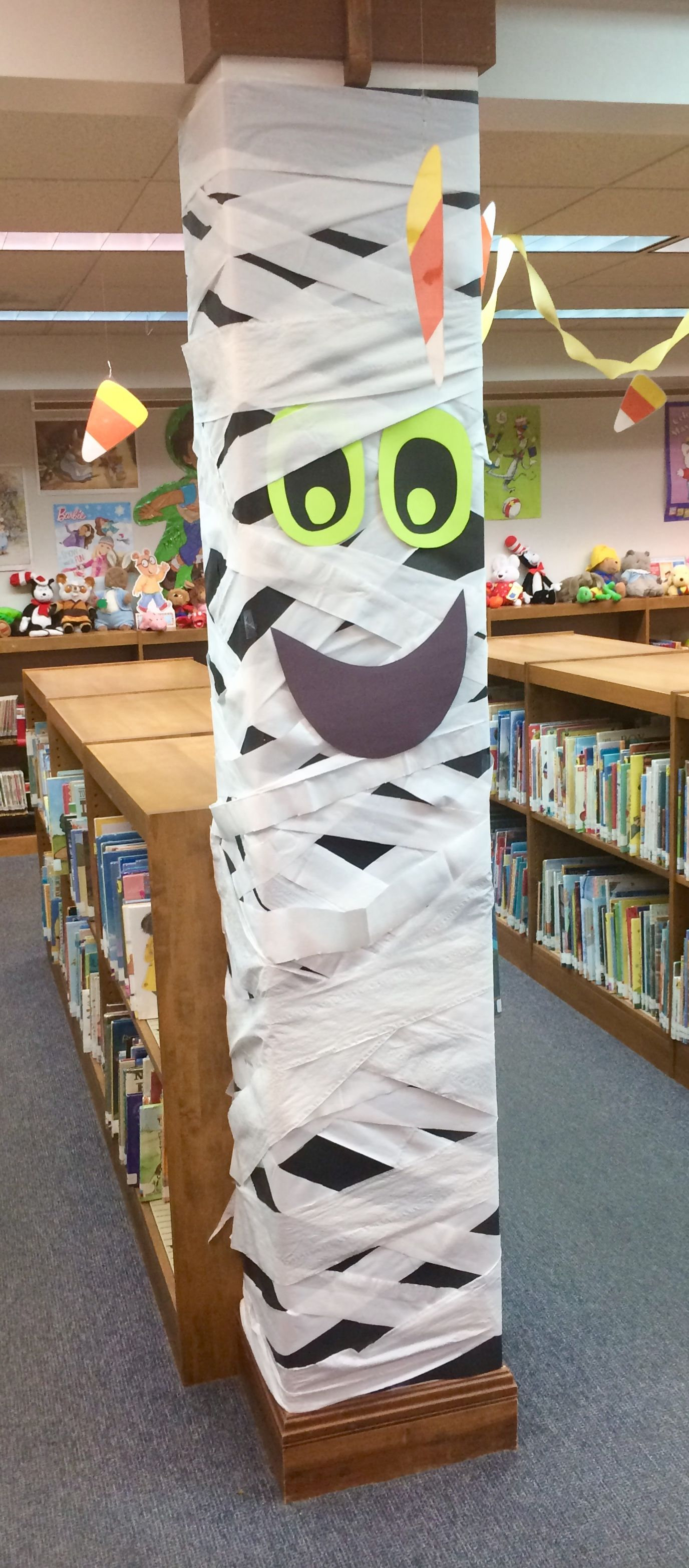 Ghostly Halloween column School library displays