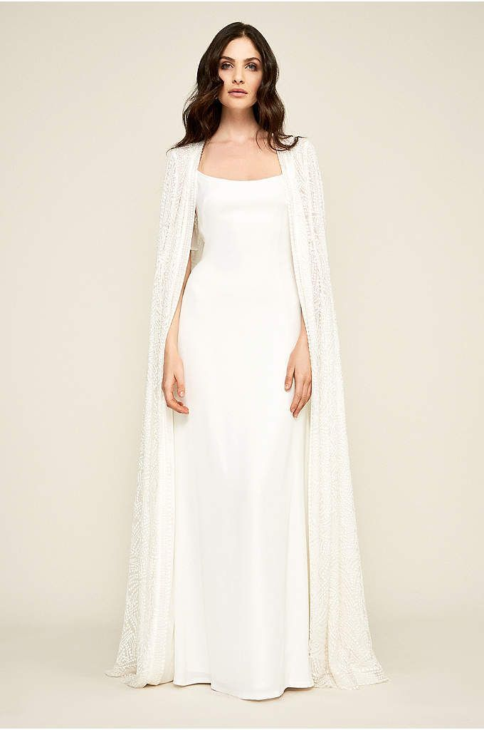 Long Tulle Cape with 3D Flowers | Slip wedding dress, Cape ...