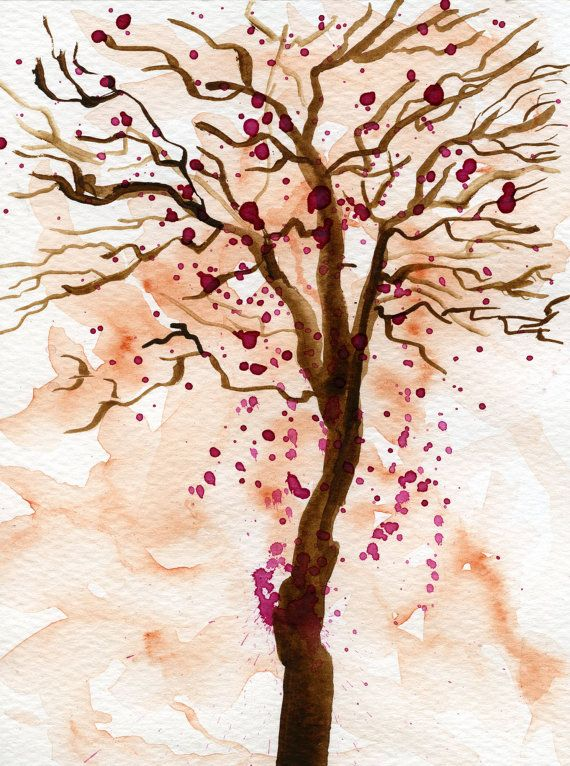 Abstract Pink flower tree, watercolor painting of a tree