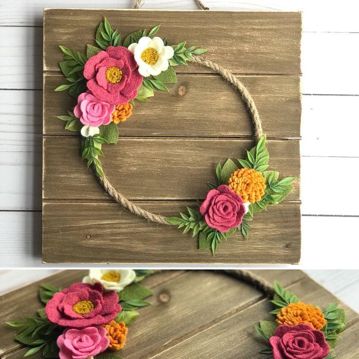 Photo of Felt Flower Wreath, spring wreath, felt flowers, felt flower wall decor, shower …