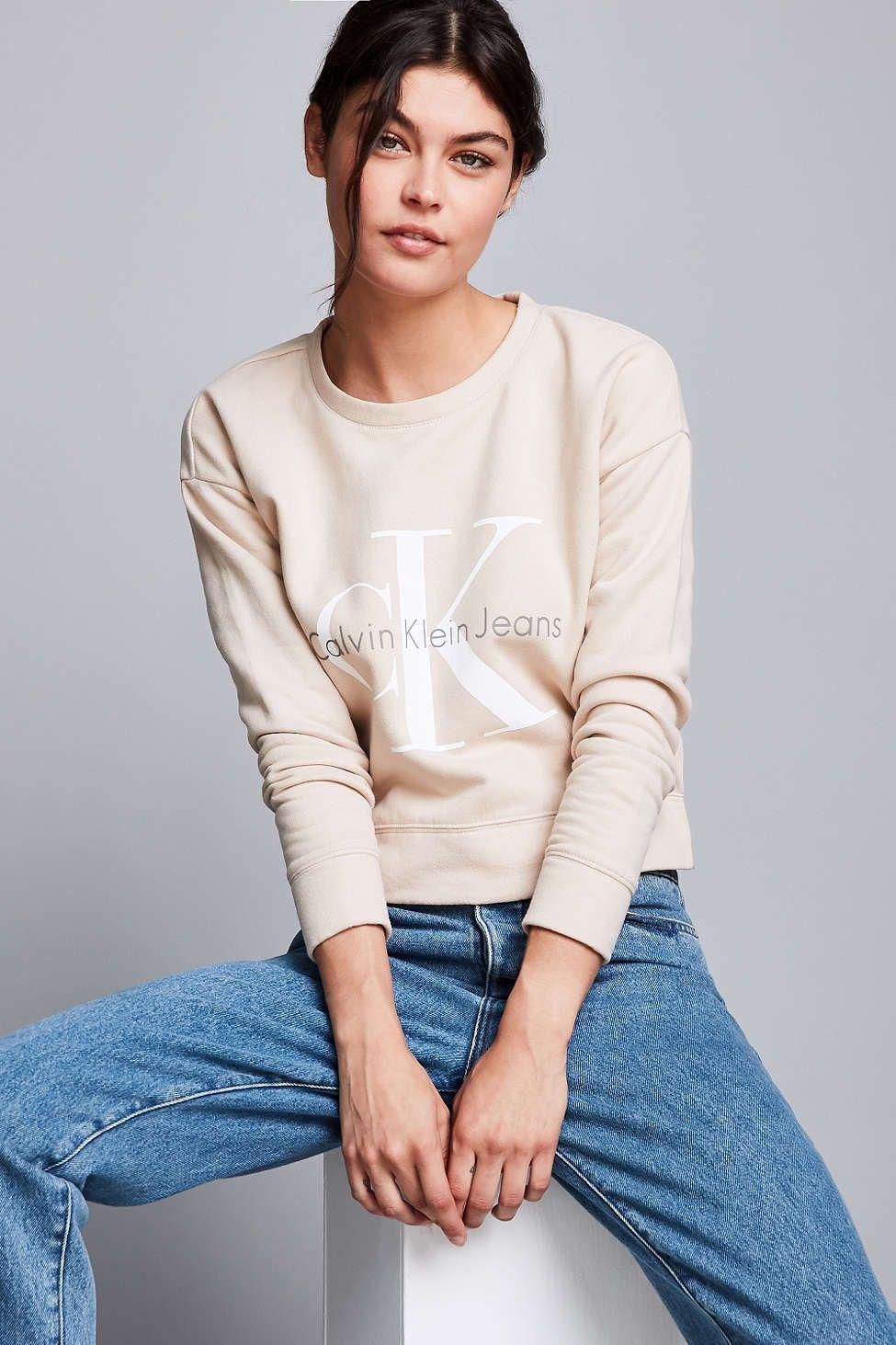 Calvin klein For Uo Modern Cropped Hoodie Sweatshirt in