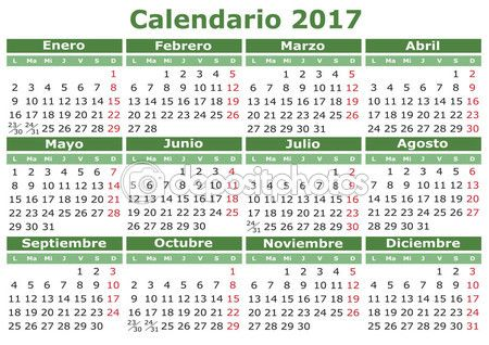 2017 vector calendar in spanish easy for edit and apply