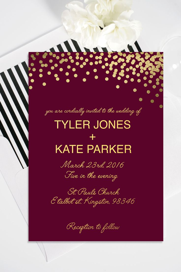 Modern customizable maroon and gold printable wedding invitation ...
