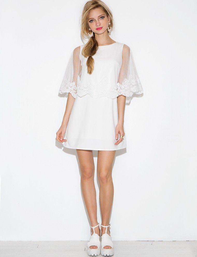 White Lace Cape Dress - Scalloped Lace Dress -