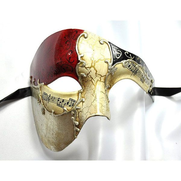 Red Gold  Phantom of Opera Mask Musical Half Face Mask Men's Masquerade Mask