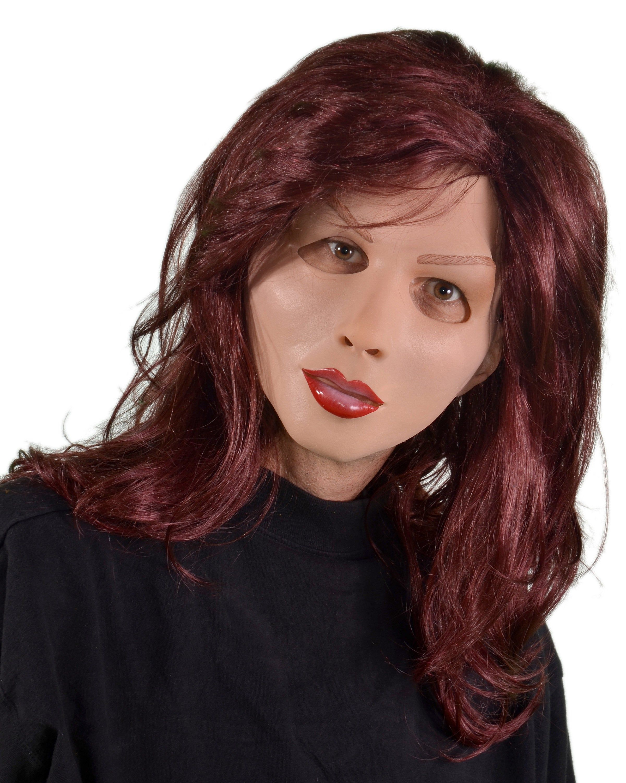 Red Head Face Mask Pretty Woman Doll Mannequin Creepy