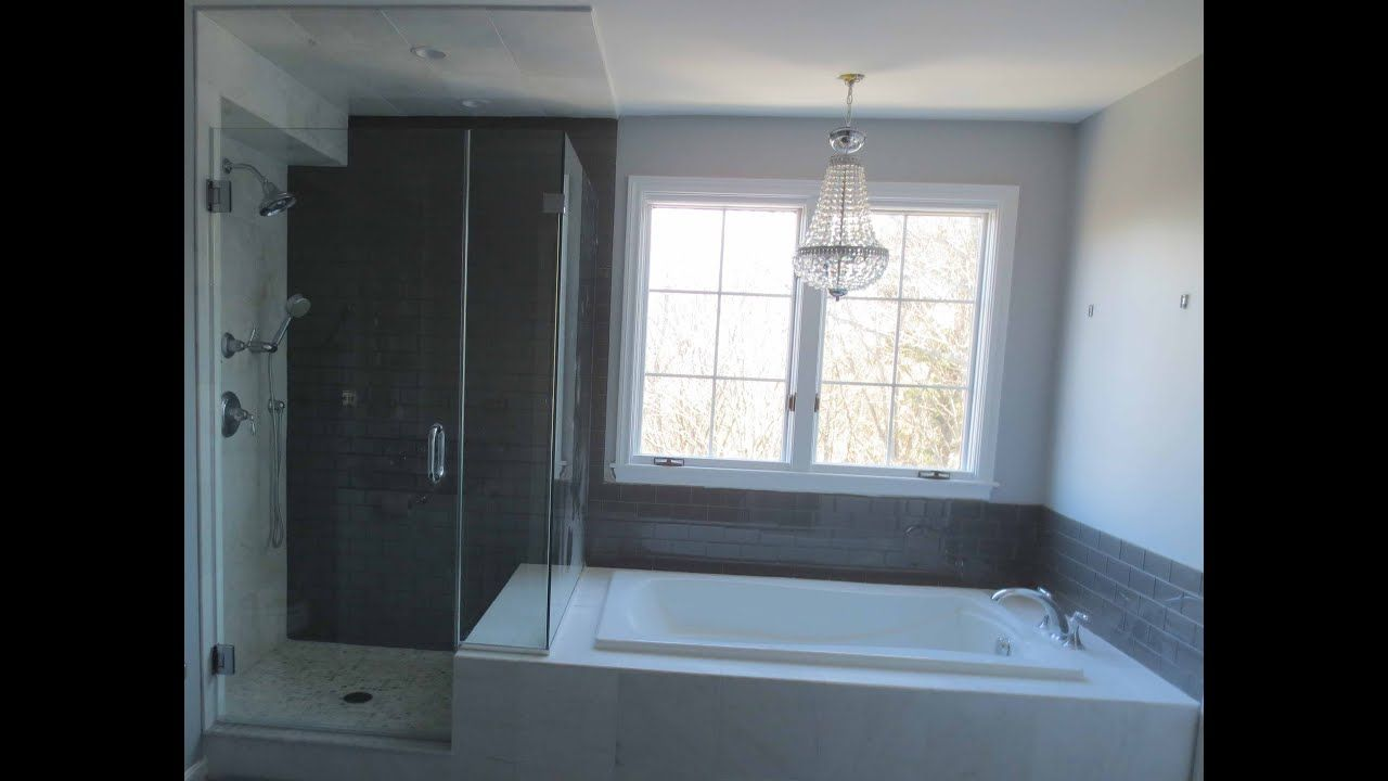 Complete Bathroom Install Subway Glass Tile And Carrera Marble Tile