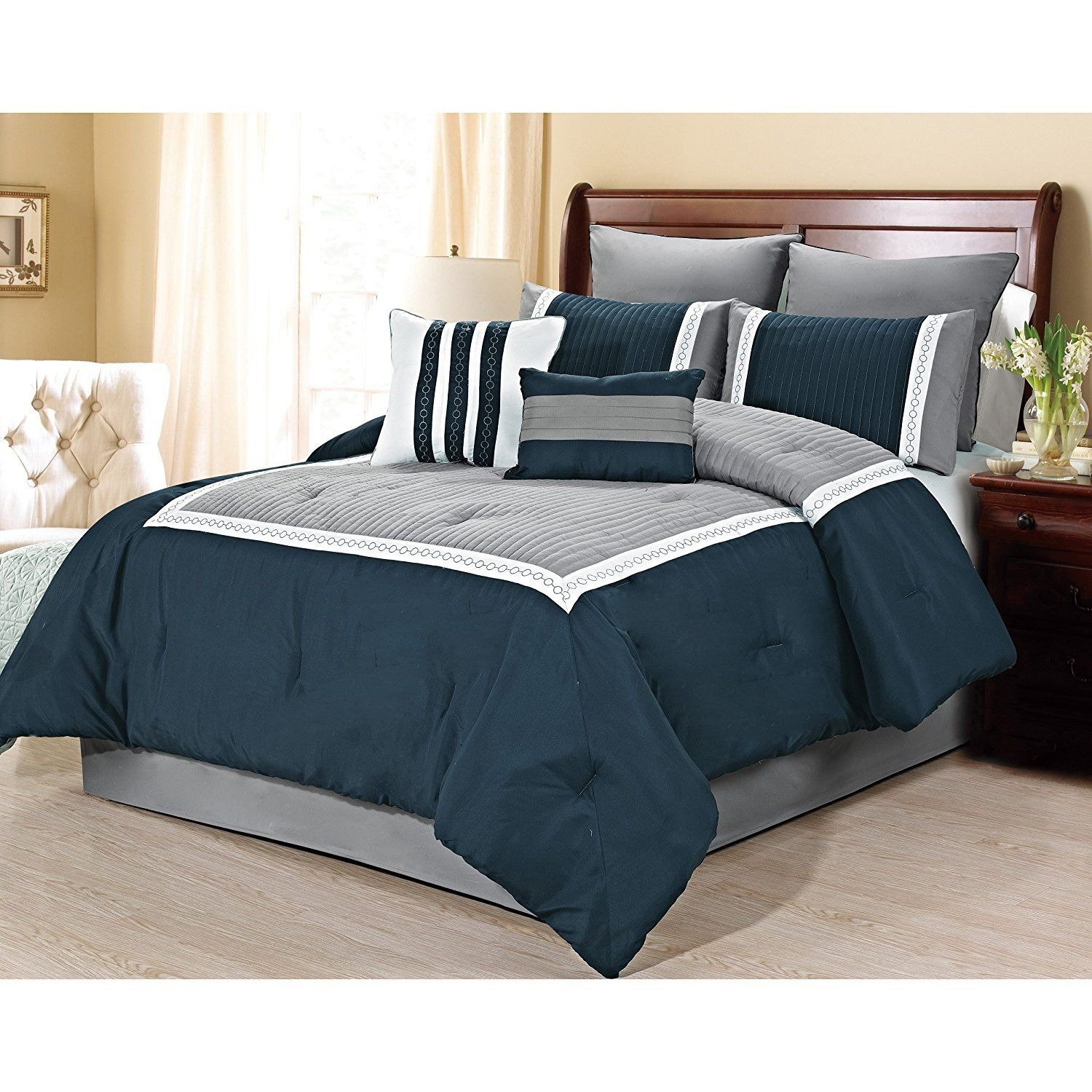 Master bedroom navy blue  Navy Blue Embroidered Textured Comforter Cal King California Set