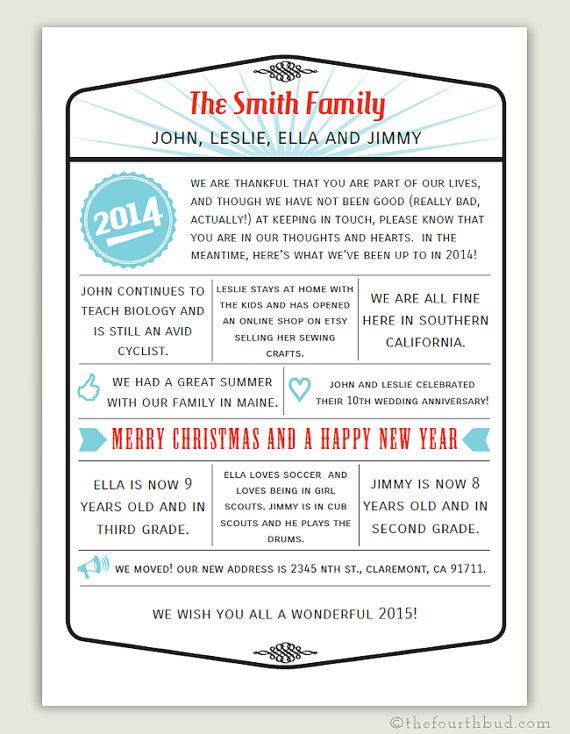 5x7 - Year In Review / Christmas Letter Template in PDF -- This