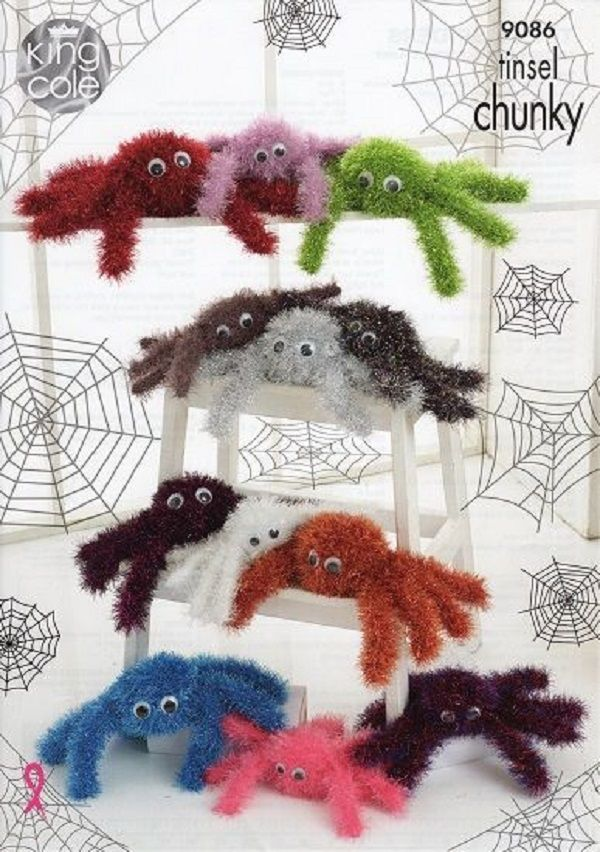 King Cole Tinsel Chunky Spiders Pattern 9086 Spider Knitting