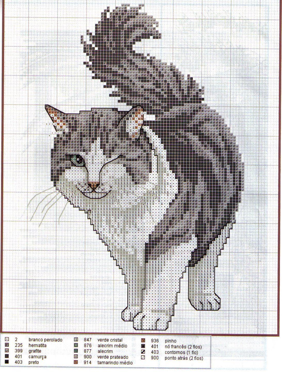 ponto cruz - Pesquisa Google | bordados | Pinterest | Gato y Bordado