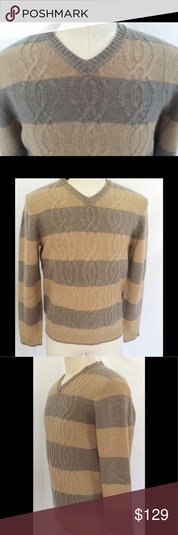 SOLD 🔥Black Brown 1826 Cashmere Striped Sweater M NWT | Cashmere ...