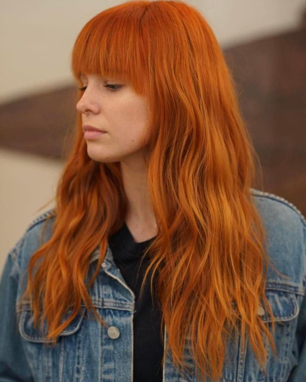 Red wavy long hairstyle with bangs red heads pinterest long