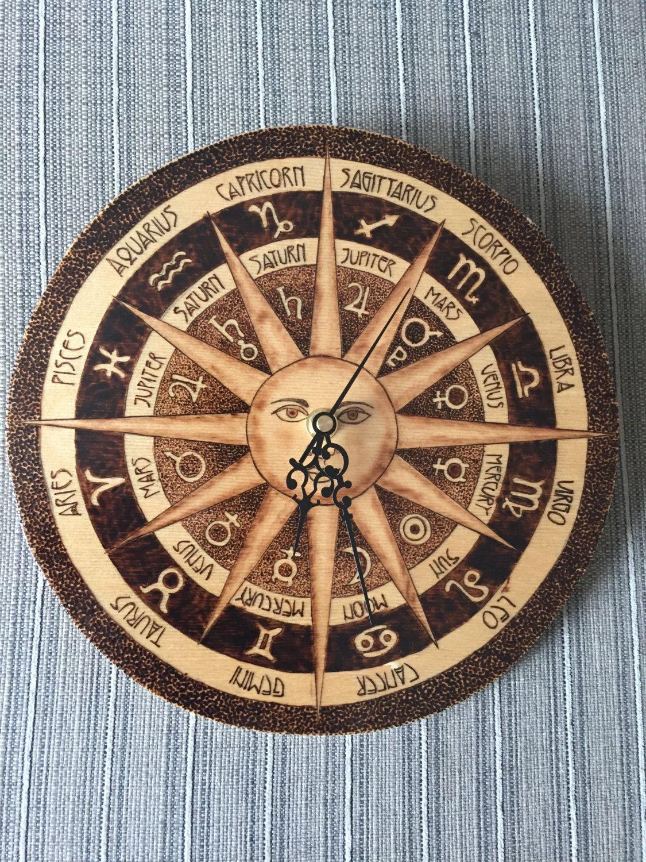 Astrology Wall Clock Pyrography Art on Birch
