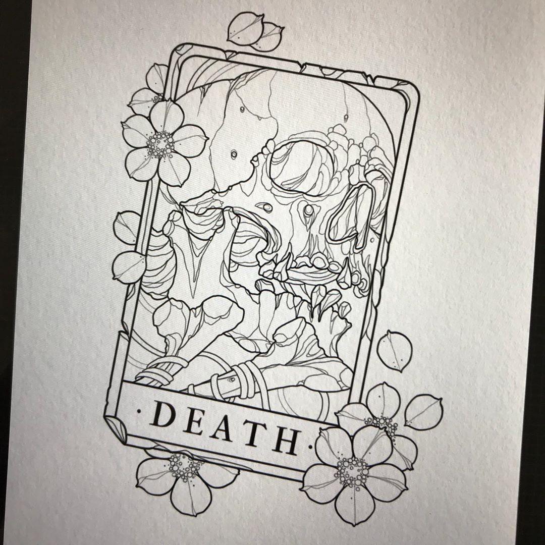 "Jacob Lennon on Instagram: ""✽ Death Tarot ✽ #neotraditional #neotraditionaltattoo #neotraditionaldesign #neotraditionaltattoos #neotrad #neotradtattoo #tarottattoo…"" #tattoodrawings"