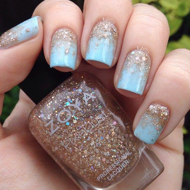 Classy Blue uptown nails | Nail Art | Nails, Bride nails, Nail designs