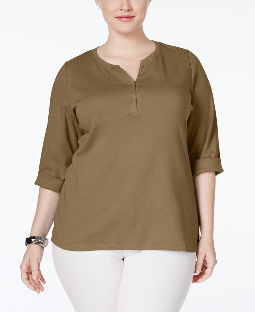 NEW  2X Karen Scott Plus Size Split-neck 3/4 Sleeve Brown 100% Cotton #KarenScott #Henley