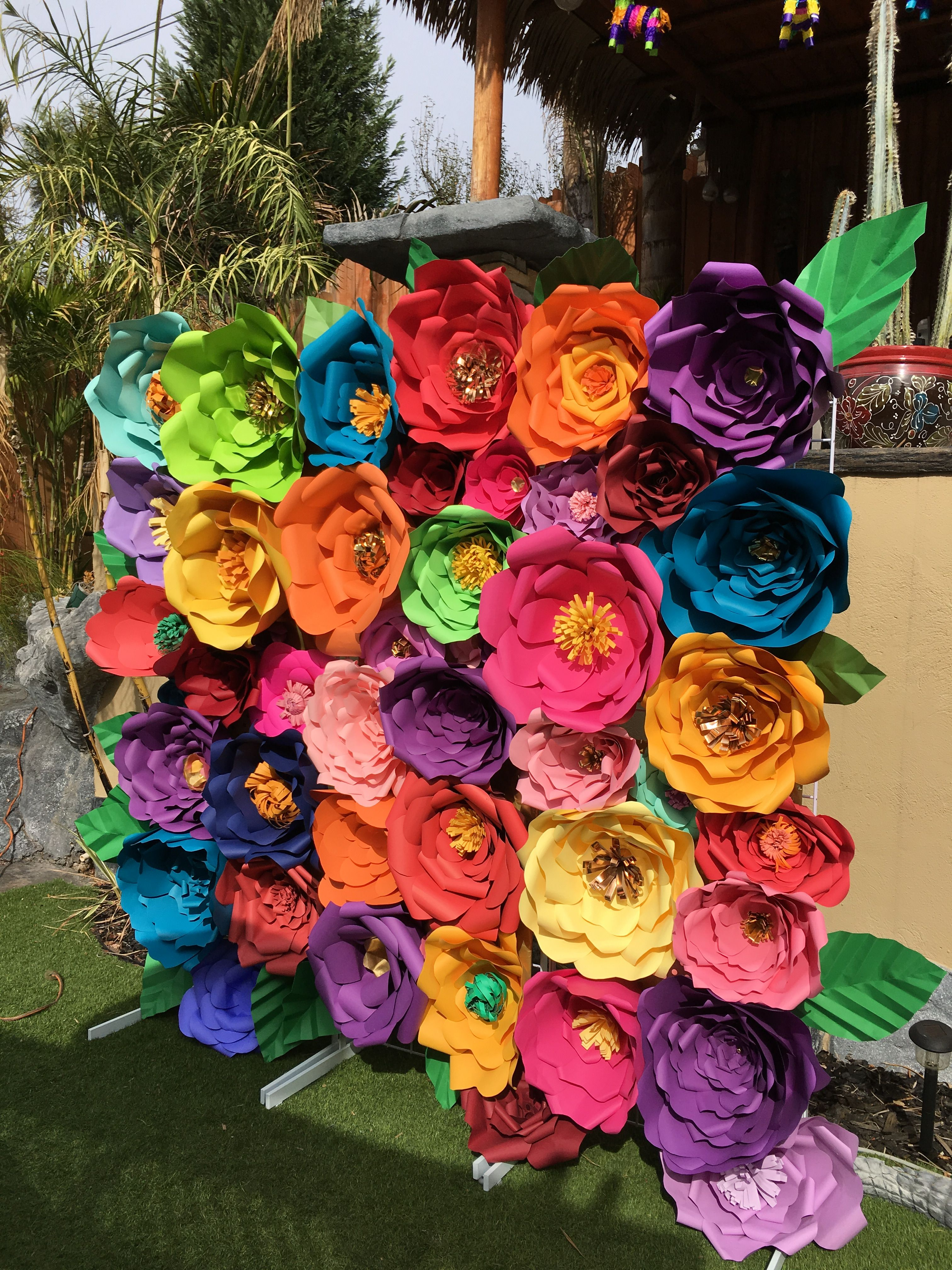 6X6 Feet Mexican Fiesta Colorful Paper Flowers Backdrop Photo Booth